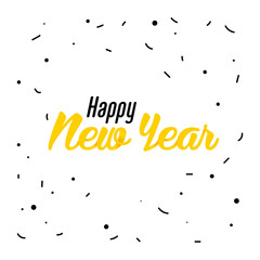 Yellow lettering of Happy New Year