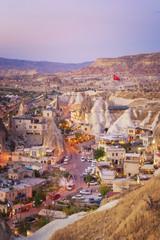 Cityscape of beautiful Göreme at Dusk, Turkey