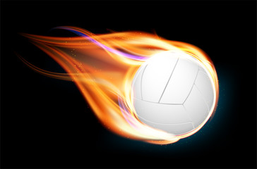 Flying and burning volleyball ball on black background