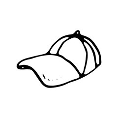 Hand drawn cap doodle. Sketch sports equipment and simulators, icon. Decoration element. Isolated on white background. Vector illustration