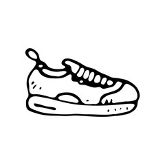 Hand drawn sneaker doodle. Sketch sports equipment and simulators, icon. Decoration element. Isolated on white background. Vector illustration