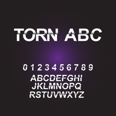 Vector of modern torn font and alphabet.