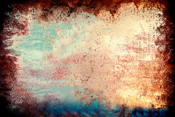 Colourful grunge background. Dust Overlay and  Distress Background with scratches. Artistic Dark messy wallpaper.