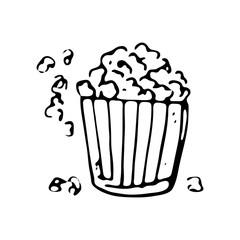 Hand drawn popcorn doodle icon. Hand drawn black sketch. Sign symbol. Decoration element. White background. Isolated. Flat design. Vector illustration
