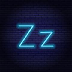 Blue neon letters, font on dark blue background. Vector illustration of eps 10.