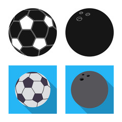 Vector illustration of sport and ball symbol. Set of sport and athletic stock symbol for web.