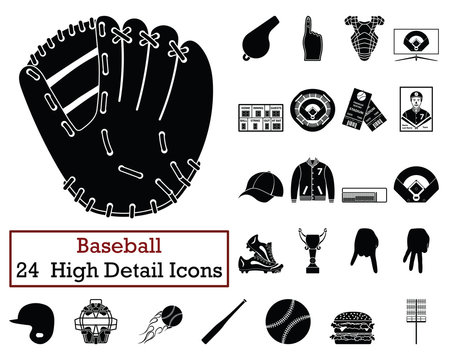 Set of 24  Baseball Icons