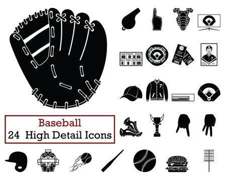 Set of 24  Baseball Icons