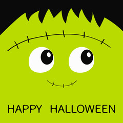 Happy Halloween. Frankenstein Zombie monster square face icon. Cute cartoon funny spooky baby character. Green head. Greeting card. Flat design. White background.