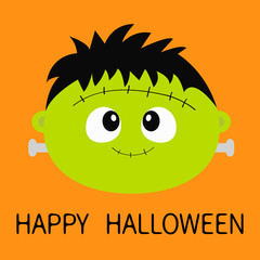 Happy Halloween. Zombie monster round face icon. Cute cartoon funny spooky baby character. Green head. Greeting card. Flat design. Orange background. Isolated.