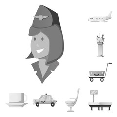 Vector illustration of airport and airplane logo. Collection of airport and plane vector icon for stock.