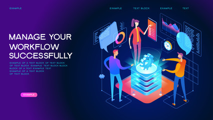 Business management isometric concept banner