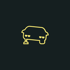 car repair line icon. car stands on the jack