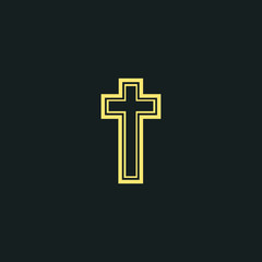 Religion cross line icon