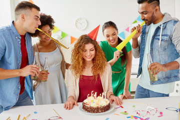 corporate and people concept - happy team of coworkers with non-alcoholic drinks and cake celebrating birthday at office party