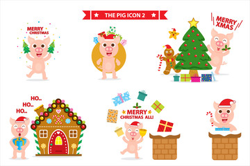 Merry Christmas with cute pig icon