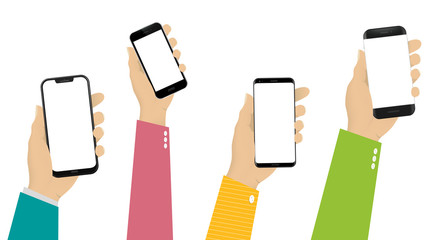 Different Mobile Phones in Hands Vector Illustration