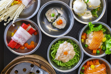 Various Dim Sum on the Table, Steamed Traditional Chinese Cuisine Food