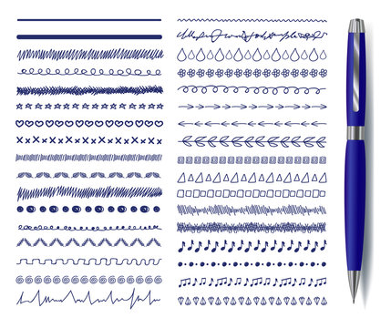 Vector Doodle Decrotaive Lines Set with Realistic Blue Pen, Drawings Collection Isolated.
