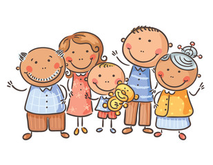 Happy family of five, cartoon graphics, vector illustration