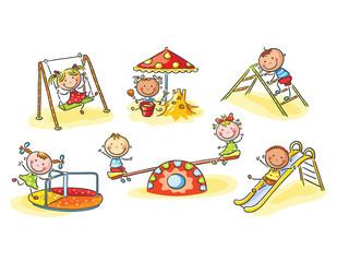 Happy cartoon kids on playground, cartoon graphics, illustration