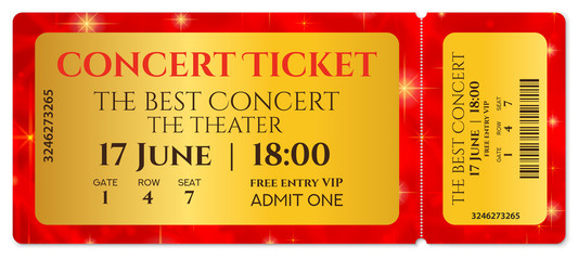 Ticket template, Concert ticket with stars (tear-off ticket mockup) on red starry glitter background. Useful for any festival, party, cinema, event, entertainment show, movie