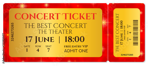 Ticket template, Concert ticket with stars (tear-off ticket