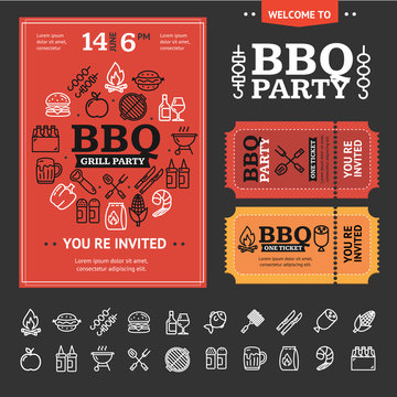 Bbq Party Invitation with Thin Line Icon Set. Vector