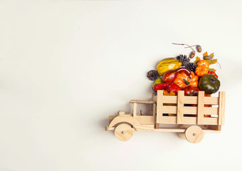 Wooden toy truck with a pumpkin crop in the back on beige background. Space for text.
