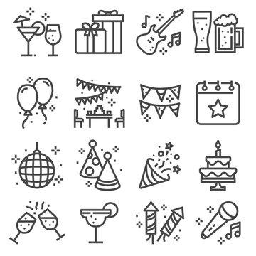 Party, Birthday, celebration line web icons set.