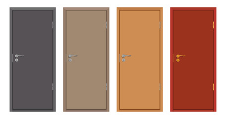 colored wooden doors isolated on white background, realistic wooden door, colour illustration of different door design, office interior or exterior element, room design, vector graphics to design