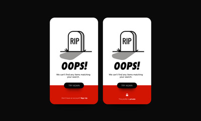 Oops Wrong Page Error Message 404 with Tombstone Vector Illustration