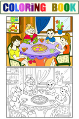 Color Grandmother is sitting at the table. Grandchildren came to visit. Coloring, black and white