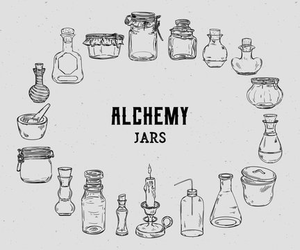 Empty alchemy jars for potions collection. Magic bottles for halloween decoration. Vintage vector illustration