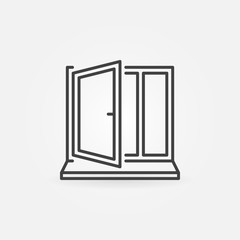 Window with sill vector line concept icon
