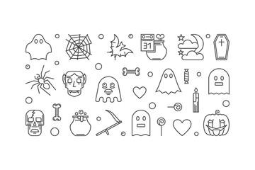 Halloween horizontal vector outline illustration or banner