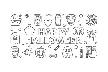 Happy Halloween vector line horizontal banner or illustration