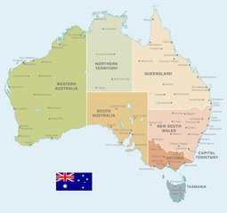 Colorful Vector Map of Australia