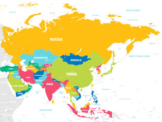 Fototapeta Colorful Vector map of Asia obraz