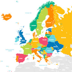 Foto op Aluminium Wereldkaart Colorful Vector map of Europe
