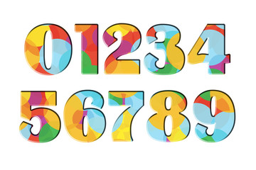 0 1 2 3 4 5 6 7 8 9 Set of Colorful rainbow numbers. One, two, three, four, five, six, seven, eight, nine, zero. White isolated