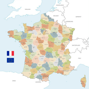 Colorful Vector Map of France