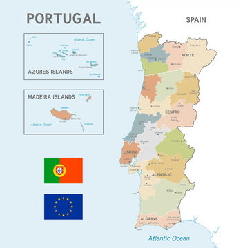 Colorful Vector Map of Portugal
