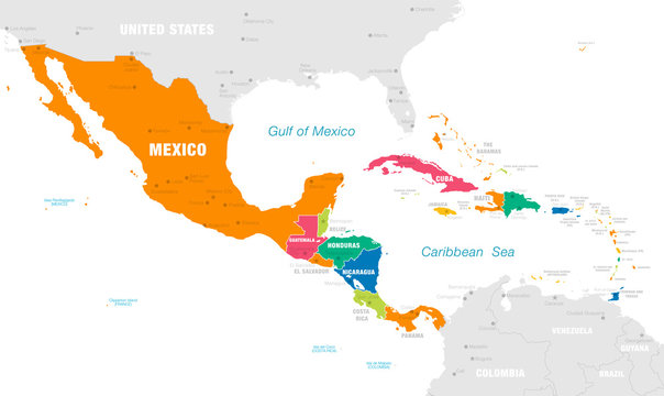 Colorful Vector map of Central America