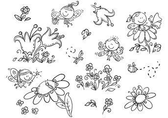 Wall Mural - Set of cartoon fairies, insects, flowers and elements, vector graphics, black and white