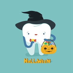 Halloween day of dental, tooth fantacy concept.