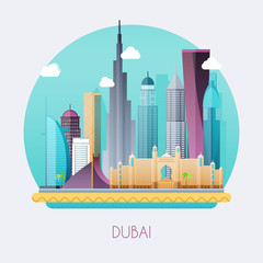 Dubai. Skyline and vector landscape of buildings and famous landmarks. Vector illustration.