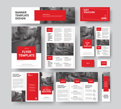 Corporate style with square red design elements and stroke, with a place for a photo.
