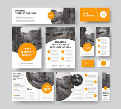Corporate style with round and semicircular orange design elements and stroke, with a place for photos.