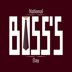 National Boss s Day. Concept of a business holiday. Event name, tie and collar inside the letter o